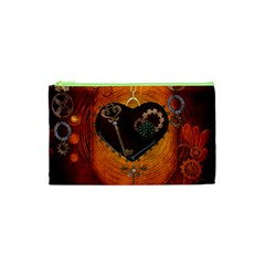 Steampunk, Heart With Gears, Dragonfly And Clocks Cosmetic Bag (XS)