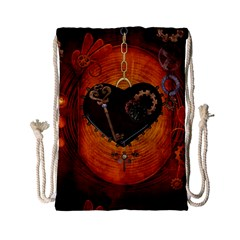 Steampunk, Heart With Gears, Dragonfly And Clocks Drawstring Bag (Small)