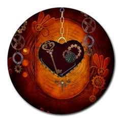 Steampunk, Heart With Gears, Dragonfly And Clocks Round Mousepads