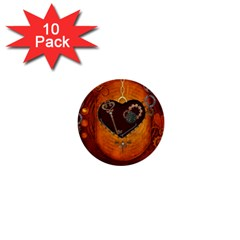 Steampunk, Heart With Gears, Dragonfly And Clocks 1  Mini Buttons (10 pack)