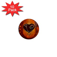 Steampunk, Heart With Gears, Dragonfly And Clocks 1  Mini Magnet (10 pack)