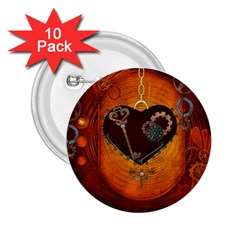 Steampunk, Heart With Gears, Dragonfly And Clocks 2.25  Buttons (10 pack)