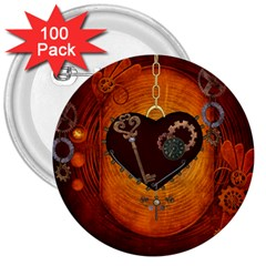 Steampunk, Heart With Gears, Dragonfly And Clocks 3  Buttons (100 pack)