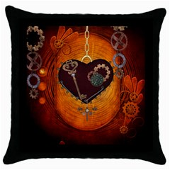 Steampunk, Heart With Gears, Dragonfly And Clocks Throw Pillow Case (Black)