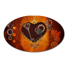 Steampunk, Heart With Gears, Dragonfly And Clocks Oval Magnet