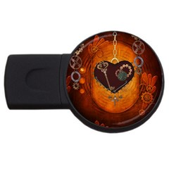 Steampunk, Heart With Gears, Dragonfly And Clocks USB Flash Drive Round (1 GB)