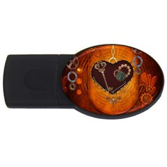 Steampunk, Heart With Gears, Dragonfly And Clocks USB Flash Drive Oval (1 GB)