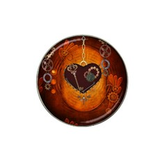 Steampunk, Heart With Gears, Dragonfly And Clocks Hat Clip Ball Marker (10 pack)