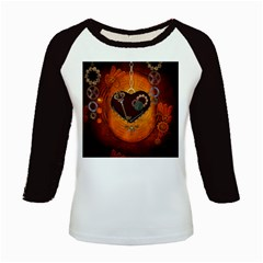 Steampunk, Heart With Gears, Dragonfly And Clocks Kids Baseball Jerseys