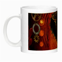 Steampunk, Heart With Gears, Dragonfly And Clocks Night Luminous Mugs