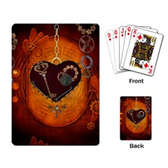 Steampunk, Heart With Gears, Dragonfly And Clocks Playing Card