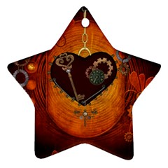 Steampunk, Heart With Gears, Dragonfly And Clocks Star Ornament (Two Sides)