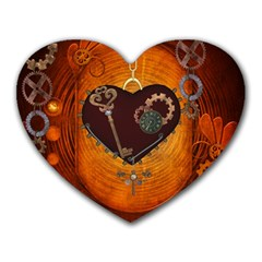 Steampunk, Heart With Gears, Dragonfly And Clocks Heart Mousepads