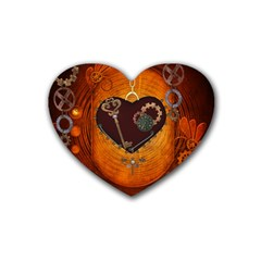 Steampunk, Heart With Gears, Dragonfly And Clocks Rubber Coaster (Heart)
