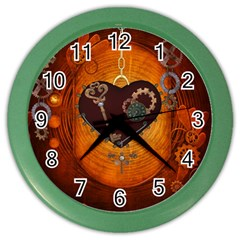 Steampunk, Heart With Gears, Dragonfly And Clocks Color Wall Clocks