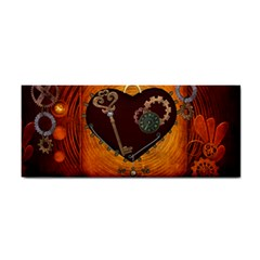 Steampunk, Heart With Gears, Dragonfly And Clocks Hand Towel