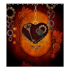 Steampunk, Heart With Gears, Dragonfly And Clocks Shower Curtain 66  x 72  (Large)