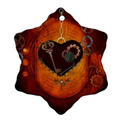 Steampunk, Heart With Gears, Dragonfly And Clocks Snowflake Ornament (Two Sides)