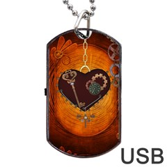 Steampunk, Heart With Gears, Dragonfly And Clocks Dog Tag USB Flash (Two Sides)
