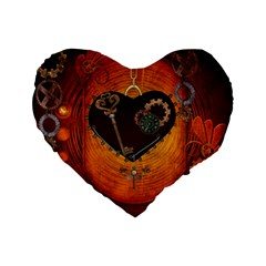 Steampunk, Heart With Gears, Dragonfly And Clocks Standard 16  Premium Heart Shape Cushions