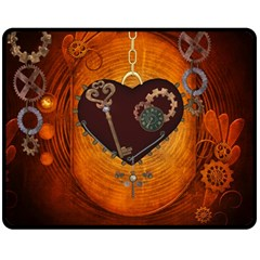 Steampunk, Heart With Gears, Dragonfly And Clocks Double Sided Fleece Blanket (Medium)