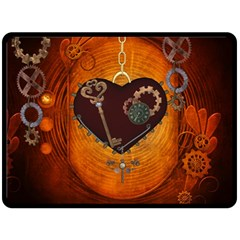 Steampunk, Heart With Gears, Dragonfly And Clocks Double Sided Fleece Blanket (Large)