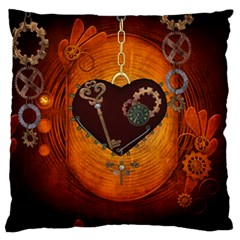 Steampunk, Heart With Gears, Dragonfly And Clocks Large Flano Cushion Case (One Side)