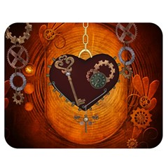 Steampunk, Heart With Gears, Dragonfly And Clocks Double Sided Flano Blanket (Medium)