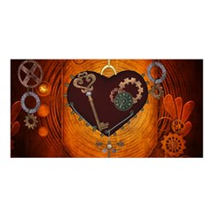 Steampunk, Heart With Gears, Dragonfly And Clocks Satin Shawl