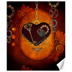 Steampunk, Heart With Gears, Dragonfly And Clocks Canvas 8  x 10