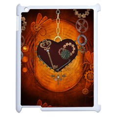 Steampunk, Heart With Gears, Dragonfly And Clocks Apple iPad 2 Case (White)