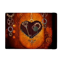 Steampunk, Heart With Gears, Dragonfly And Clocks Apple iPad Mini Flip Case