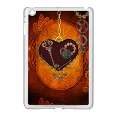 Steampunk, Heart With Gears, Dragonfly And Clocks Apple iPad Mini Case (White)