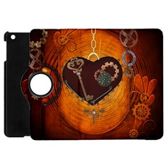 Steampunk, Heart With Gears, Dragonfly And Clocks Apple iPad Mini Flip 360 Case