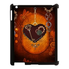 Steampunk, Heart With Gears, Dragonfly And Clocks Apple iPad 3/4 Case (Black)