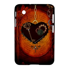 Steampunk, Heart With Gears, Dragonfly And Clocks Samsung Galaxy Tab 2 (7 ) P3100 Hardshell Case