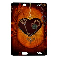 Steampunk, Heart With Gears, Dragonfly And Clocks Amazon Kindle Fire HD (2013) Hardshell Case