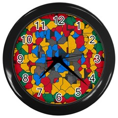 Stained glass                        Wall Clock (Black)