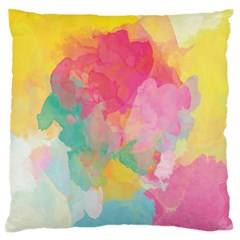 Pastel watercolors canvas                  Large Flano Cushion Case (Two Sides)