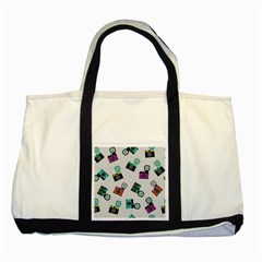 Old cameras pattern                        Two Tone Tote Bag