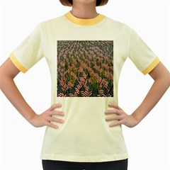 Repetition Retro Wallpaper Stripes Women s Fitted Ringer T-Shirts