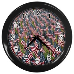 Repetition Retro Wallpaper Stripes Wall Clocks (Black)