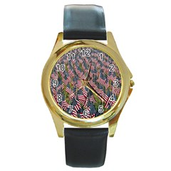 Repetition Retro Wallpaper Stripes Round Gold Metal Watch