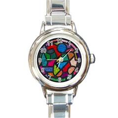 Stained Glass Color Texture Sacra Round Italian Charm Watch