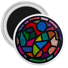 Stained Glass Color Texture Sacra 3  Magnets