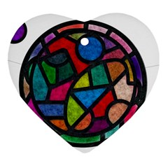 Stained Glass Color Texture Sacra Ornament (Heart)