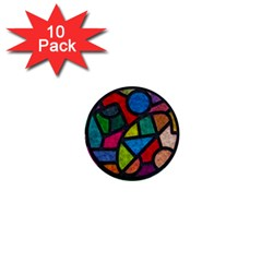 Stained Glass Color Texture Sacra 1  Mini Buttons (10 pack)