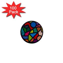 Stained Glass Color Texture Sacra 1  Mini Buttons (100 Pack)