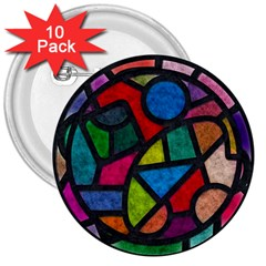 Stained Glass Color Texture Sacra 3  Buttons (10 Pack)