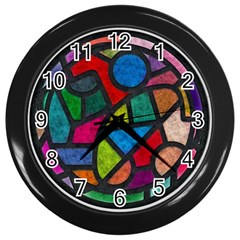 Stained Glass Color Texture Sacra Wall Clocks (Black)
